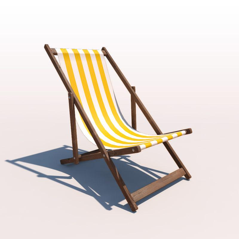 3d deck chair - yellow model