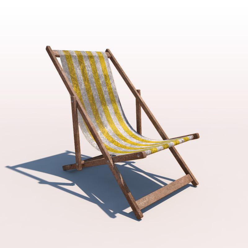 deck chair - yellow 3d c4d