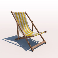 deck chair - yellow 3d c4d