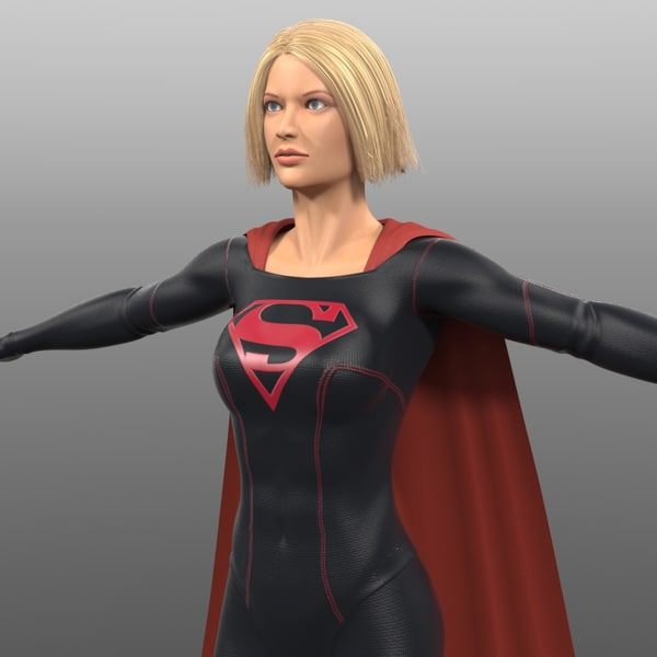 original dark supergirl costume 3d model