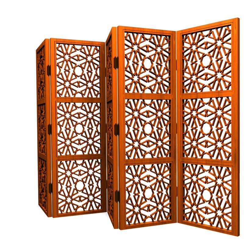 3d islamic folding screen