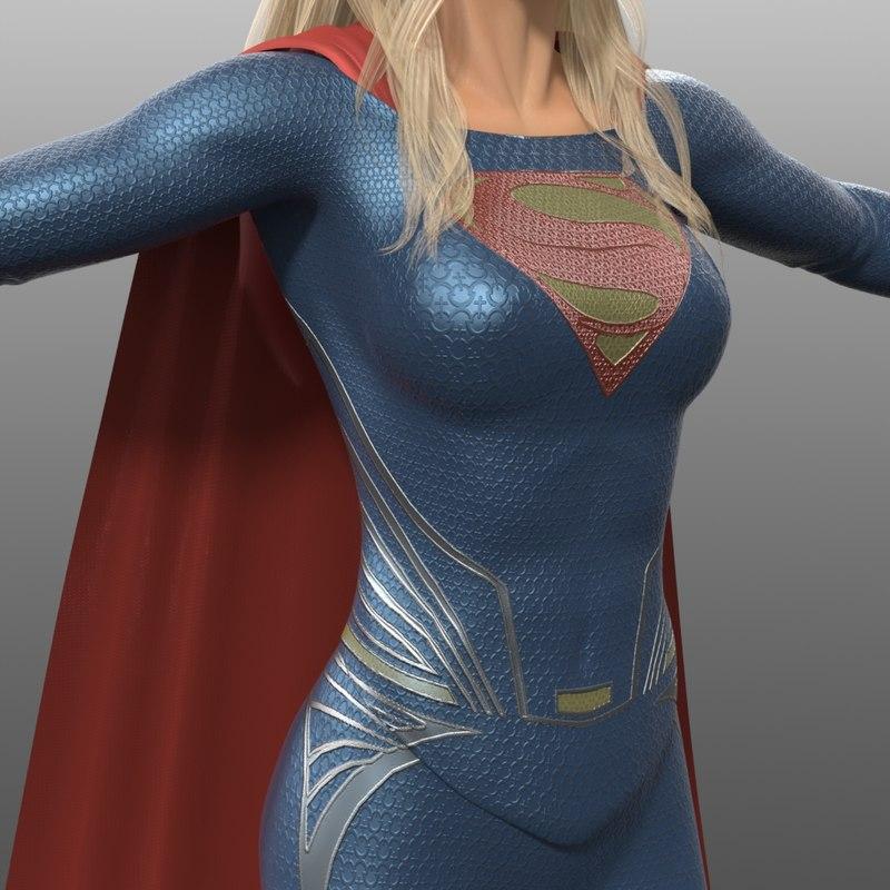 supergirl costume 3d model