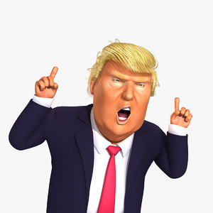 rigged cartoon donald trump 3d max