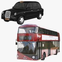 bus london taxi 3d model