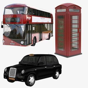 3d bus london taxi 2016
