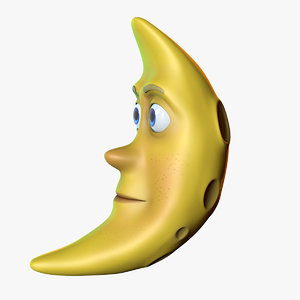 cartoon moon character 3d c4d