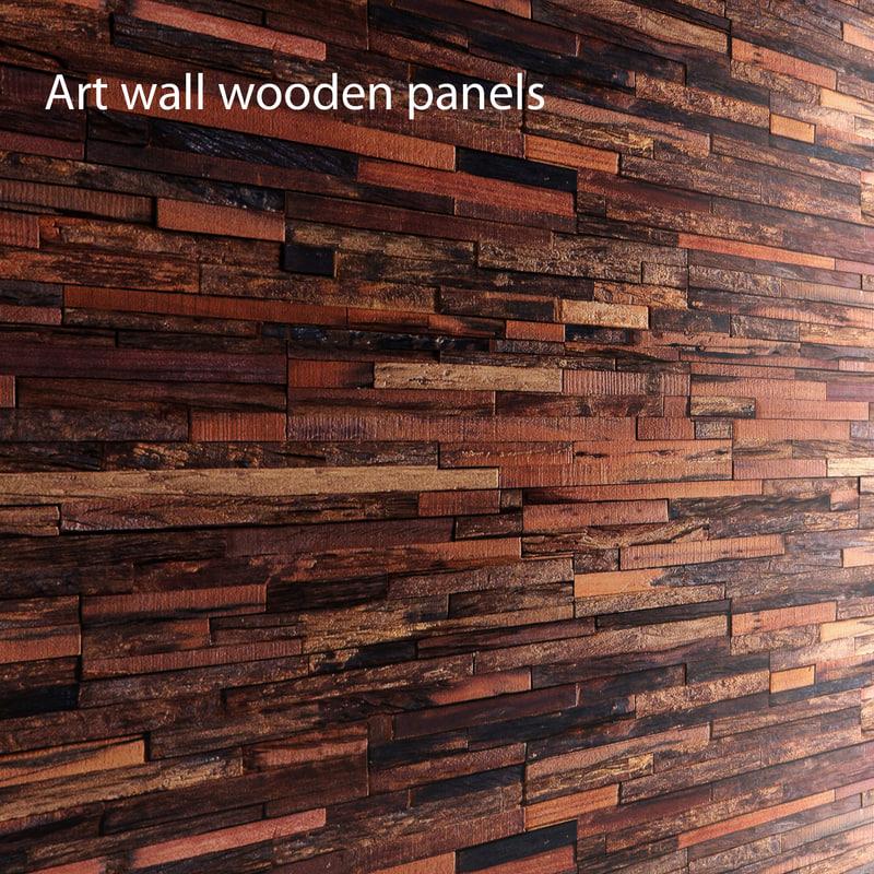 art wall wooden planks fbx