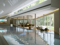 3d model interior modern swimming pool
