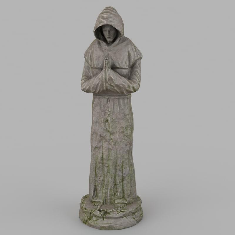 3d model monk statue 1