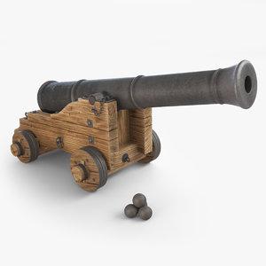 medieval vessel ship cannon 3d model