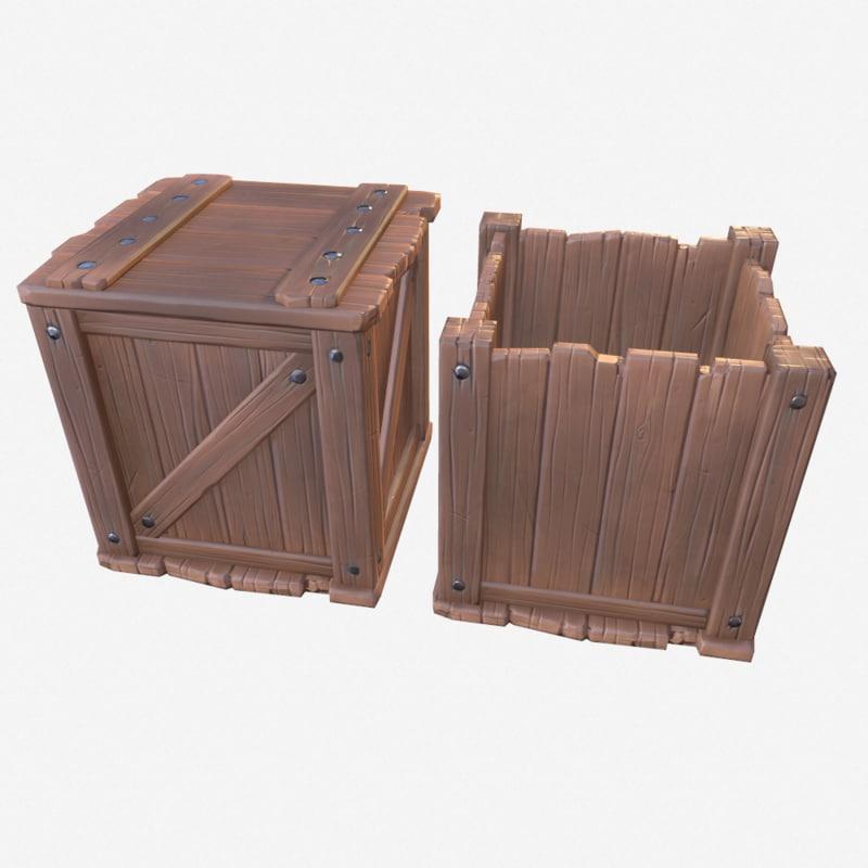 3d cartoon crates