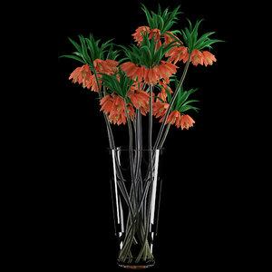 3d vase fritillaria imperials