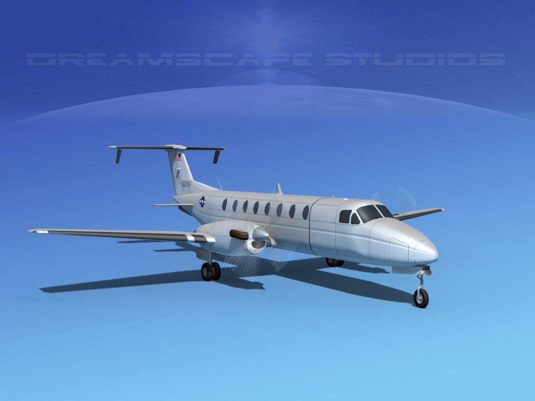beechcraft c-12j transport 3d model