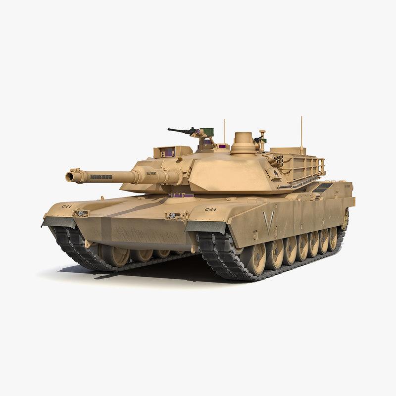 3d model of m1 abrams desert
