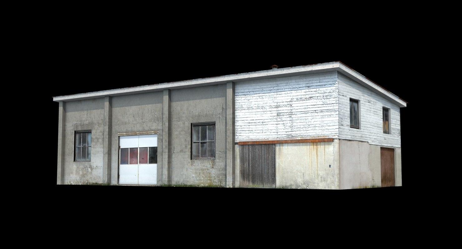 shabby workshop concrete 3d obj