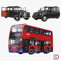 london bus taxi rigged 3d max