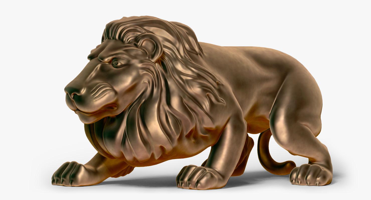 zbrush lion statue 3d 3ds