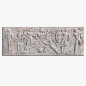 3d greek bas-relief