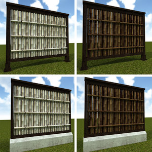 3d model bamboo fence
