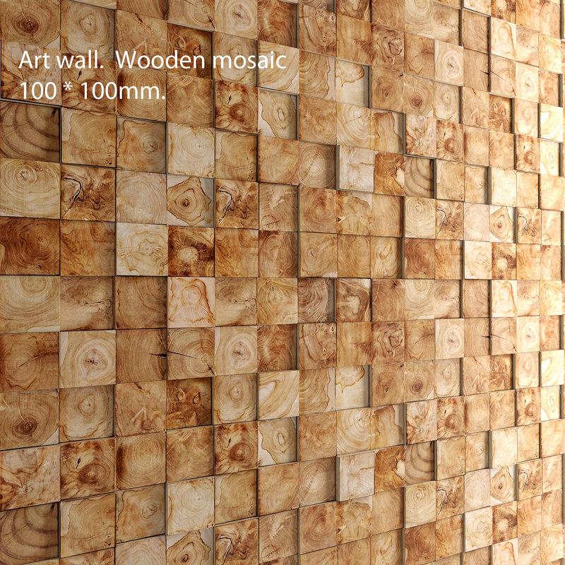 3d mosaic wood panel set model