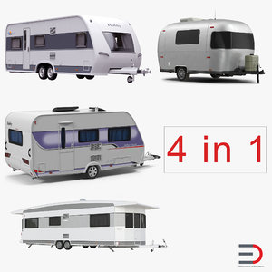 3d caravans set retro