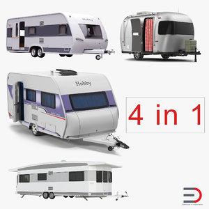 rigged caravans 3d model