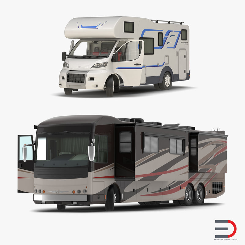 rigged motorhomes 3d model