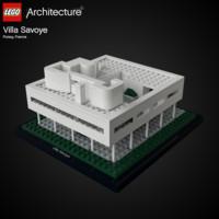 3d model lego villa savoye le corbusier