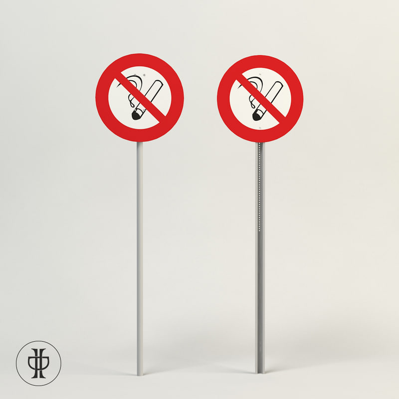 3d model sign smoking
