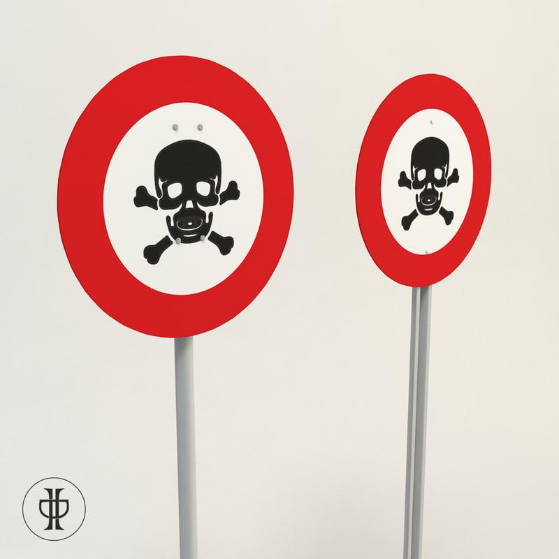 3d model of sign danger life wall