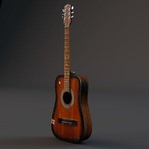 3d c4d acoustic guitar