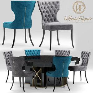 3d table chair vittoriafrigerio model