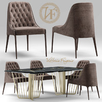 table and chair vittoria frigerio Poggi High capitonne