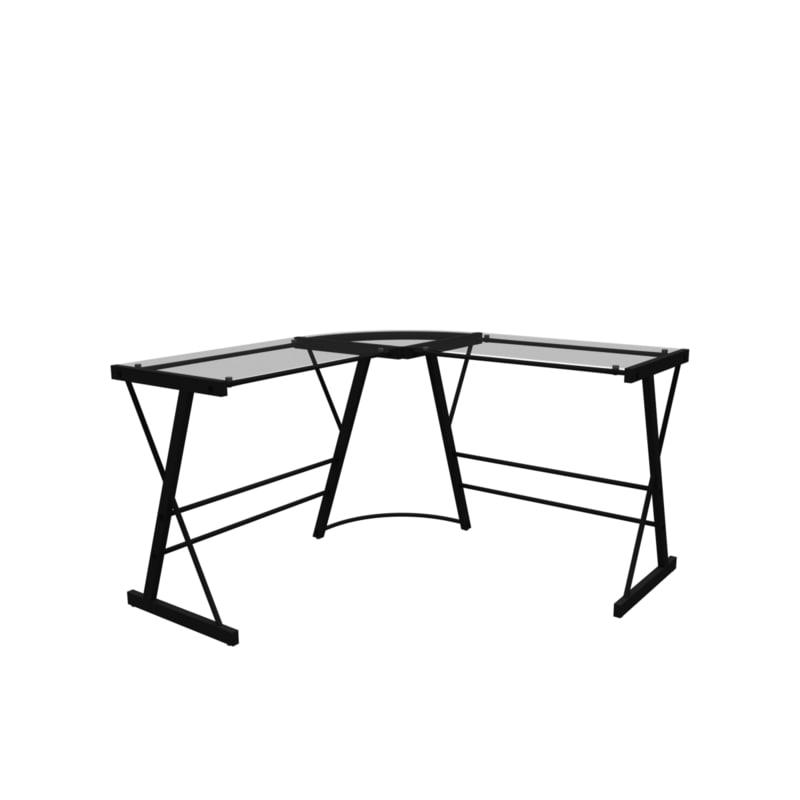 l-shaped desk glass 3d model