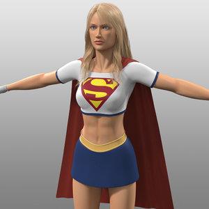 original supergirl costume danvers 3d obj