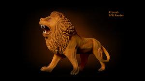 lion statue 3d 3ds