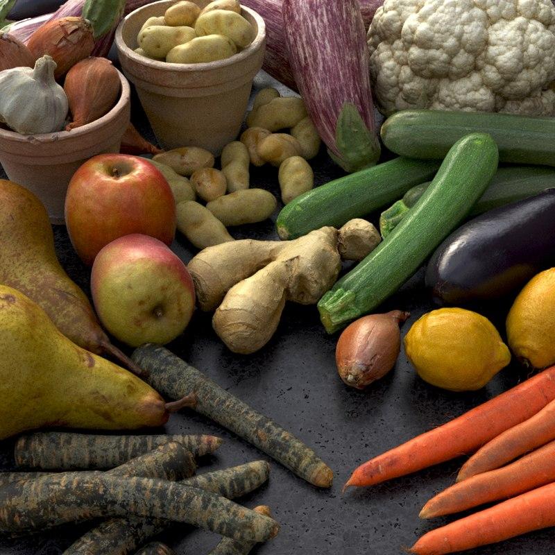 3d fruit vegetable scenes model