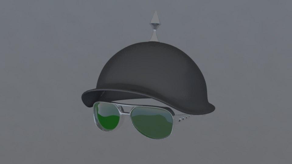 3d model helmet glasses