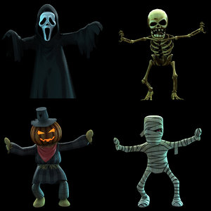 4 cartoon ghost 3d model