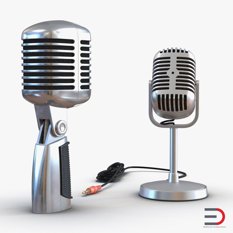 3d model classic studio microphones