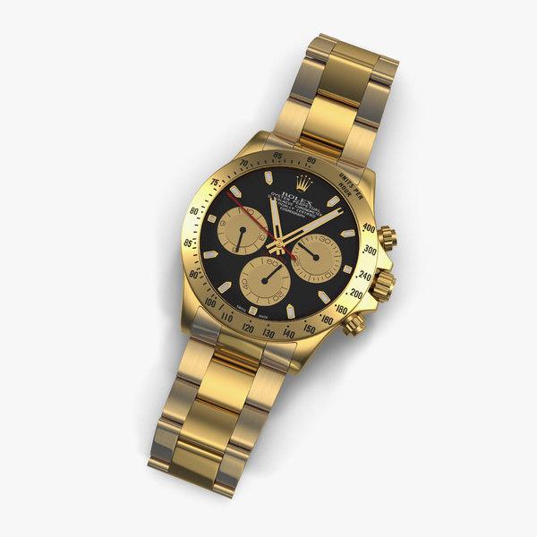 rolex gold daytona black 3d 3ds