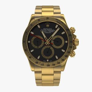 3d model rolex gold daytona black