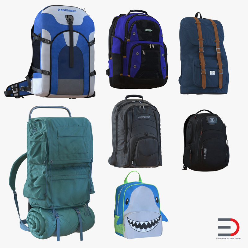 backpacks 3 modeled kid 3d model