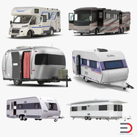 Rigged Motorhomes and Caravans 3D Models Collection