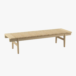 wegner bar bench furniture 3d model