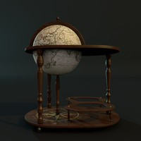 3d globe bar table