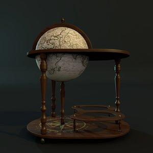 3d globe bar table