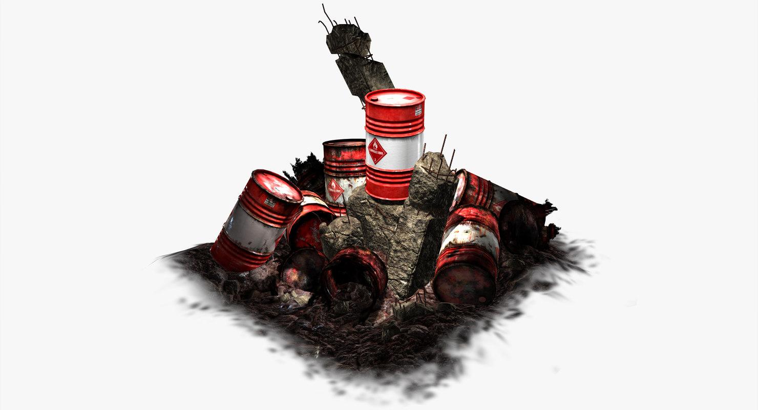 explosive barrel - 3d obj