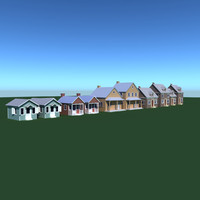 3d model village house pack