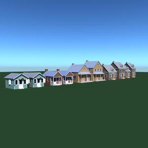 3d model village house pack